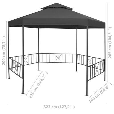vidaXL Pavilion de grădină, antracit, 323x275x265 cm