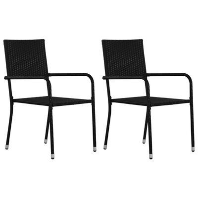 vidaXL Set mobilier de grădină, 3 piese, negru