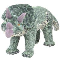 vidaXL Jucărie de pluș verticală dinozaur triceratops, verde, XXL
