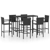 vidaXL Set mobilier bar de grădină, 7 piese, negru, poliratan