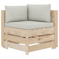 vidaXL Canapea de grădină din paleți, colțar, cu perne bej, lemn
