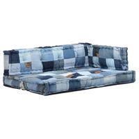 vidaXL Set perne canapea din paleți, 3 piese, albastru, denim, petice