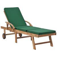 vidaXL Șezlong cu pernă, verde, lemn masiv de tec