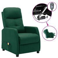vidaXL Electric Massage Recliner Dark Green Fabric (289832+327164)