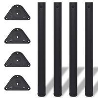 Picioare de masă cu înălțime reglabilă, 4 buc, 710 mm, negru