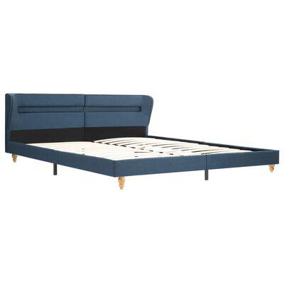 vidaXL Pat cu LED și saltea, albastru, 180 x 200 cm, material textil