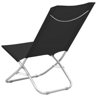 vidaXL Scaune de plajă pliante, 2 buc., negru, material textil