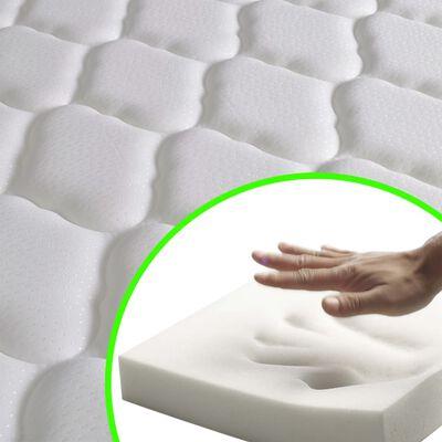 vidaXL Pat cu LED și saltea spumă memorie, verde, 160 x 200 cm, textil