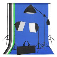 vidaXL Kit studio foto cu lumini softbox și fundaluri