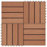 vidaXL Plăci podea în relief WPC, 11 buc, 30x30 cm, 1 mp, maro deschis