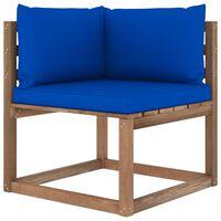 vidaXL Canapea de grădină din paleți colțar, perne albastre