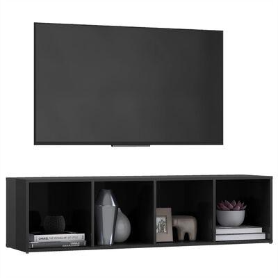 vidaXL Comodă TV, gri extralucios, 142,5x35x36,5 cm, PAL
