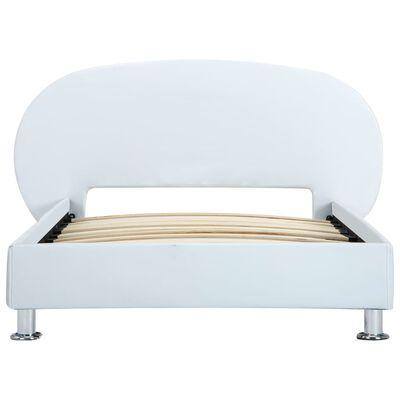 vidaXL Cadru de pat, alb, 100 x 200 cm, piele ecologică