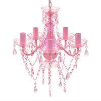 Lustră roz de cristal artificial cu 5 becuri
