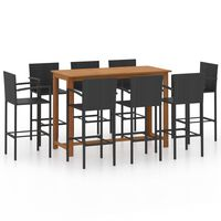 vidaXL Set mobilier bar de grădină, 9 piese, negru
