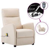 vidaXL Electric Massage Reclining Chair Cream Fabric (289715+327164)