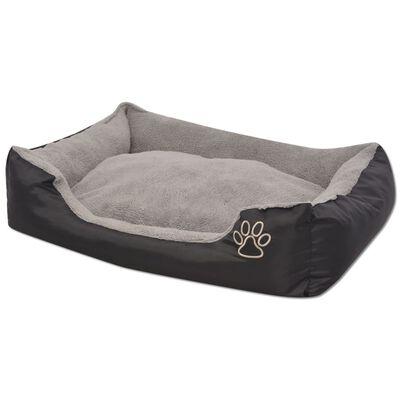 vidaXL Pat pentru câini cu pernă căptușită, mărime M, negru