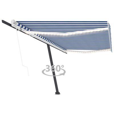 vidaXL Copertină automată cu LED&senzor vânt, albastru&alb, 500x350 cm