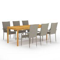 vidaXL Set mobilier de grădină, 9 piese, gri