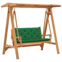 vidaXL Bancă balansoar cu pernă verde, 170 cm, lemn masiv tec