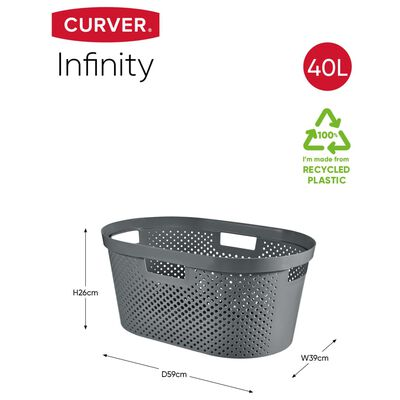 Curver Set coșuri de rufe Infinity, 2 piese, antracit, 40 L + 60 L
