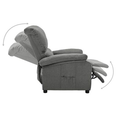 vidaXL Fotoliu rabatabil electric, gri deschis, material textil