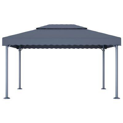 vidaXL Pavilion cu perdele & șiruri lumini antracit 400x300cm aluminiu, Antracit