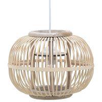 vidaXL Lampă suspendată, alb, 30 x 22 cm, 40 W, răchită, glob, E27