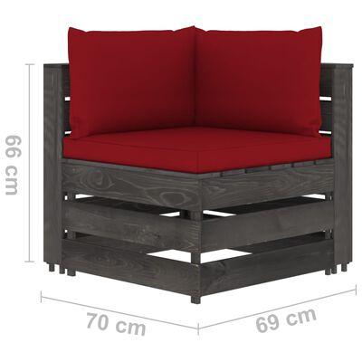 vidaXL Set mobilier grădină cu perne, 4 piese, gri, lemn tratat