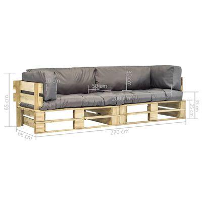 vidaXL Set canapea grădină paleți cu perne gri, 2 piese, lemn de pin