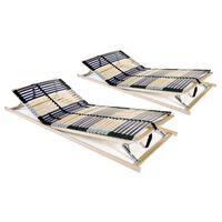 vidaXL Baze de pat cu șipci, 2 buc., 70 x 200 cm, cu 42 șipci, 7 zone