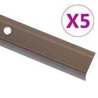 vidaXL Profile trepte în formă de L, 5 buc., maro, 134 cm, aluminiu