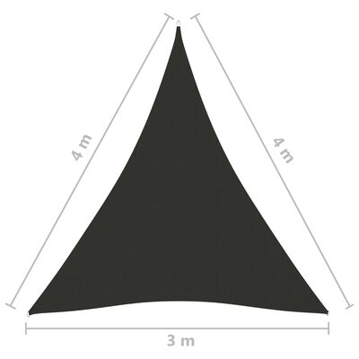 vidaXL Parasolar, antracit, 3x4x4 m, țesătură oxford, triunghiular