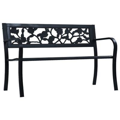 vidaXL Bancă de grădină, negru, 125 cm, oțel