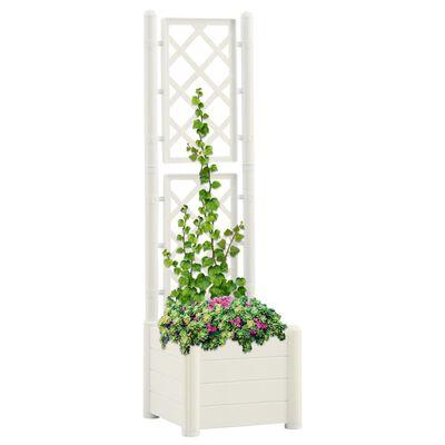 vidaXL Jardinieră de grădină cu spalier, alb, 43x43x142 cm, PP