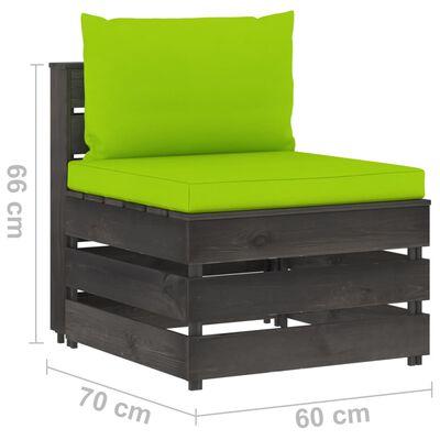 vidaXL Set mobilier de grădină cu perne, 7 piese, gri, lemn tratat