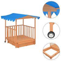 vidaXL Casă de joacă pentru copii cu groapă nisip albastru lemn brad