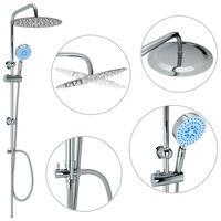 vidaXL Set de duș cu două capete, cu duș de mână, oțel inoxidabil