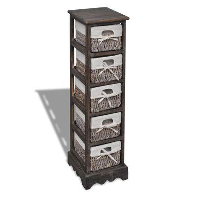 vidaXL Dulap de depozitare din lemn, 5 coșuri împletite, maro