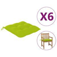 vidaXL Perne de scaun, 6 buc, verde crud, 50 x 50 x 7 cm, textil