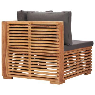 vidaXL Canapea de colț de grădină cu perne gri, lemn masiv de tec