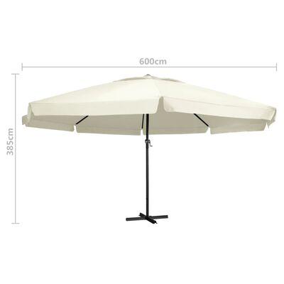 vidaXL Umbrelă de soare cu stâlp aluminiu, alb nisipiu, 600 cm
