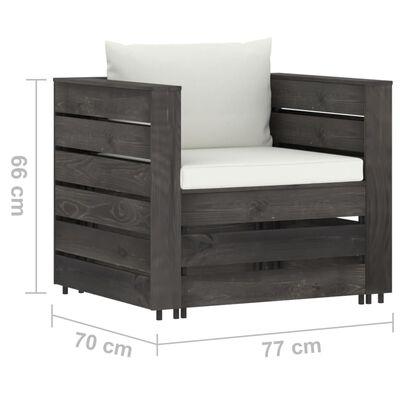 vidaXL Set mobilier grădină cu perne, 2 piese, gri, lemn impregnat