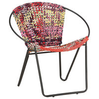 vidaXL Scaun rotund Chindi, multicolor, material textil