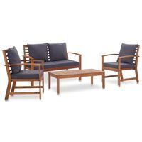 vidaXL Set mobilier de grădină cu perne, 4 piese, lemn masiv de acacia