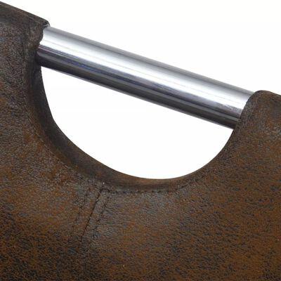 vidaXL Scaune de bucătărie, 6 buc., maro, material textil