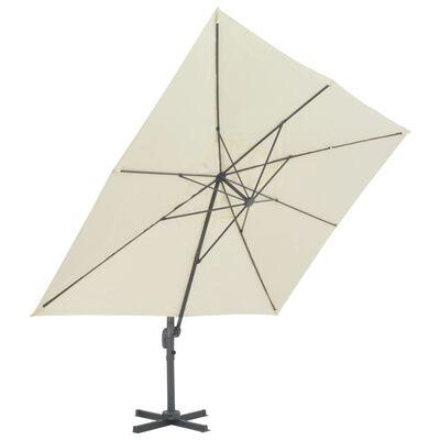 vidaXL Umbrelă de exterior cu bază portabilă, nisipiu