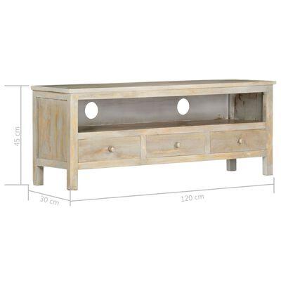 vidaXL Comodă TV, gri, 120 x 30 x 45 cm, lemn masiv de mango