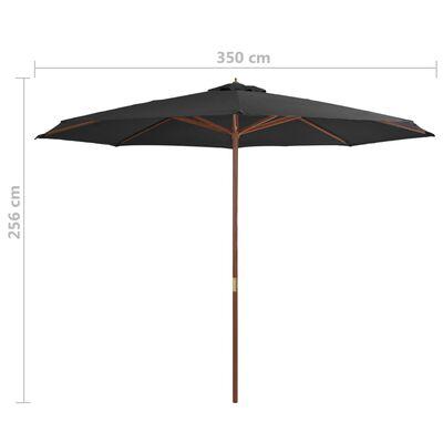 vidaXL Umbrelă de soare de exterior, stâlp din lemn, antracit, 350 cm