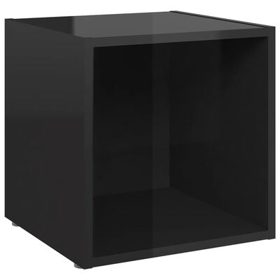vidaXL Comode TV, 4 buc., negru extralucios, 37x35x37 cm, PAL